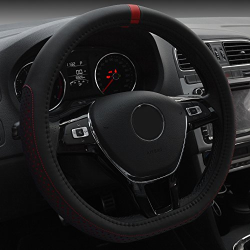 XuanMax Universal D Gestalten Mikrofaser Leder Lenkradbezug Atmungsaktiv Fahrzeug Lenkradhulle Anti-Rutsch Lenkradschoner Auto Lenkrad Abdeckung Lenkradabdeckung Steering Wheel Cover 38cm - Rot