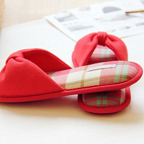Fortuning's JDS Femmes Dames Femmes Coton Maison Pantoufles Élégant arc Flops forme plate Sandales à talon ouvert Rouge