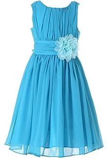 HAPPY ROSE Junior Bridesmaids V-Neckline Chiffon Flower Girl Dress