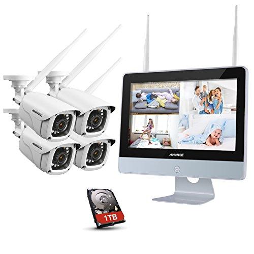 ANNKE 1080P Überwachungskamera Set mit Monitor 4CH 12 ZOLL 2.0Megapixel Funk NVR Überwachungssystem mit 4 x 1080P Wlan IP Kamera Vorinstalliert 1TB Festplatte Videoüberwachungssystem für Innen und Außen