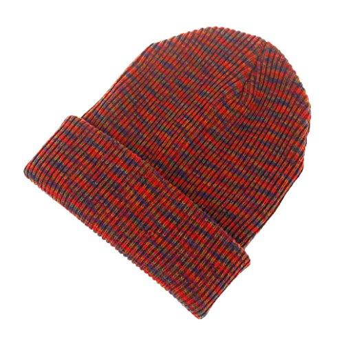 POachers Berretto da sci da donna con maniche lunghe in lana lavorata a maglia all'uncinetto Rosso