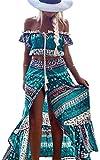 ECOWISH Sommerkleid Damen Blumen Lange Kleid Schulterfrei Top Strandkleider Boho Maxikleid