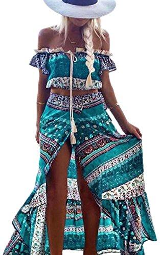 ECOWISH Sommerkleid Damen Blumen Schulterfrei Strandkleider Boho