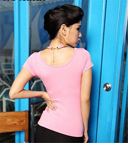 Femmes Sexy Summer Couleur Unie A Manches Courtes Col En V T-Shirt Slim Sexy Tops Chemises Rose