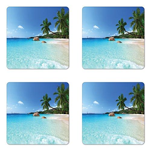 Ambesonne Ocean Untersetzer Set von Vier, ANSE Lazio Strand Bei Praslin Island Surfen Strand Reisen, Scenic View Quadratisch aus Hartfaserplatte glänzend Untersetzer für Getränke, Türkis Blau Grün