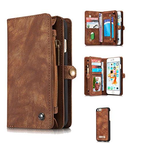 LOOKAY iPhone 6/6S Multifunktions PU Leder Handy Tasche Schutzhülle hülle und Geldbörse 2 in 1 - Braun