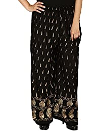 Stylish Printed And Comfortable Black Color Palazzo Pants / Trousers For Women Free Size