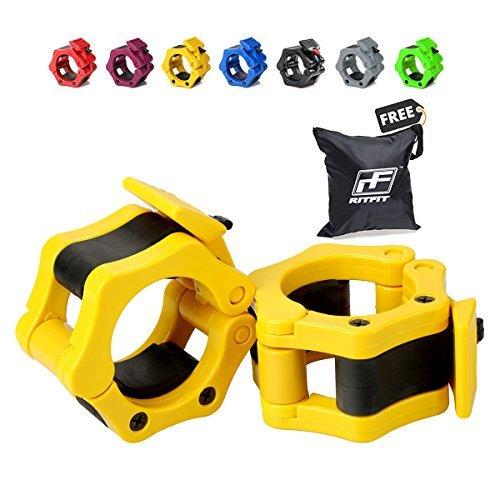 RitFit - Juego de 2 abrazaderas de bloqueo de nailon sólido con cierre de liberación rápida, ideal para CrossFit, OHP, sentadillas, pesos muertos y otras actividades, Amarillo