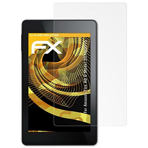 Amazn F¡re HD 6 (Model 2014/2015) Displayschutzfolie - 2 x atFoliX FX-Antireflex blendfreie Folie Schutzfolie (6 Fire Protector Screen Hd)