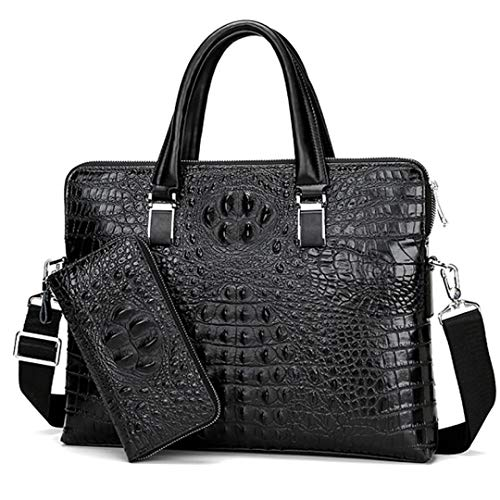 Echtes Leder Männer Briefgeschäft Business Handtaschen Echtleder Alligator Muster Männer Laptoptasche Mit Brieftasche Black with Wallet