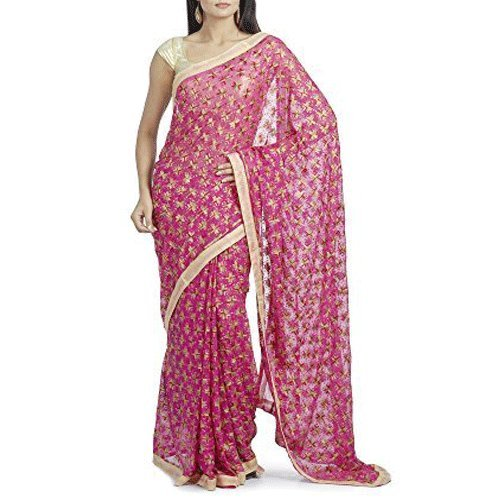 Red Bird Fashion Diwali Sale Phulkari Kanchan designed Chiffon Saree Musterd Pink...