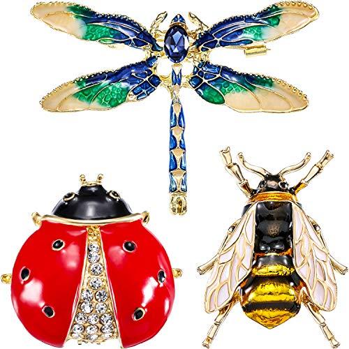 3 Stück Strass Kristall Brosche, Süße Biene Fliegen Insekten Brosche, Libelle Broschen, Marienkäfer Brosche für Mode Dekoration und Geschenk für Freunde