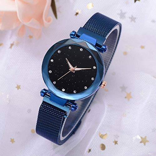 Skoril New Luxury Mesh Magnet Buckle Belt Royal Blue Quartz Watches for Girls Fashion Clock Mysterious Black Lady Analog Watch - for Girls
