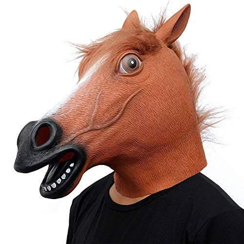 XIN Maske Maskerade Prom Maske Pferdemaske Gruselige Pferdemaske/Latex Tiermaske Neuheit Halloween Kostüme/Braunes (Braunes Pferd Kind Kostüm)