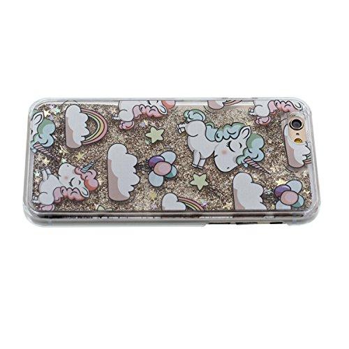 Mignon Dessin animé Licorne Serie - Rigide Transparent Coque Étui pour Apple iPhone 6S Plus 5.5�? iPhone 6 Plus Case Eau Liquide Style Brillant Poudre / Étoiles Écoulement Conception Style Or