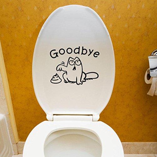 VENMO DIY Auf Wiedersehen WC Toilettensitz Badezimmer Aufkleber  Kühlschrank Wandtattoo    Fliesen-Sticker Folie Aufkleber für Badezimmer Deko - Folie für Badezimmer-Gestaltung   19X15CM (Black)