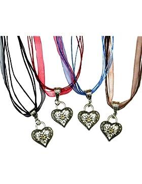 Lufetti® Trachtenkette Herz & Edelweiss inkl. 4 farbige Bänder