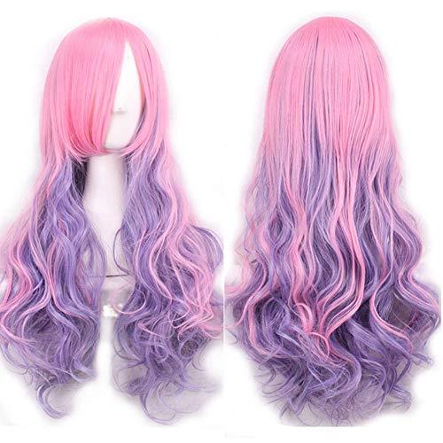 Curly Kostüm Pink Perücken - Kuizhiren1 Damenperücke, lang, gelockt, modisch, für Cosplay, Party, lang, Rosa + Hellviolett