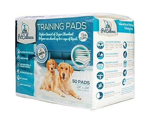 Welpen Hunde Trainingsunterlagen für Welpen Puppy Pads (50 Stück) von PetCellence | Welpenhaus Zug Piddle | Wee Wee Matten mit Lockstoff Scent | Absorbiert 200% mehr Flüssigkeit | Anti Slip & Leakproof | 60cm x 60cm