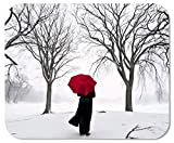 Drempad Alfombrillas De Ratón Custom, Woman with Red Umbrella in Snow Picture Anti-Slip Laptop PC Mice Pad Mat Mousepad for Optical Laser Mouse