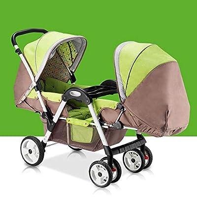 HWG-GAOYZ Cochecitos De Bebé Gemelos Acero Inoxidable Ultraligero Plegable Puede Sentarse Puede Mentir Alto Paisaje Paraguas Carro De