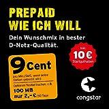 congstar Prepaid wie ich will [SIM, Micro-SIM und Nano-SIM] - Dein Wunschmix in bester D-Netz Qualität inkl. 10 EUR Startguthaben. Mix dir Allnet-Minuten, SMS und MB so wie du es brauchst, monatlich neu einstellbar