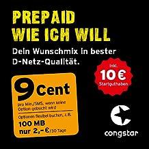 congstar Prepaid wie ich will [SIM, Micro-SIM und Nano-SIM] - Dein Wunschmix in bester D-Netz Qualität inkl. 10 EUR Startguthaben. Mix dir Allnet-Minuten, SMS und MB