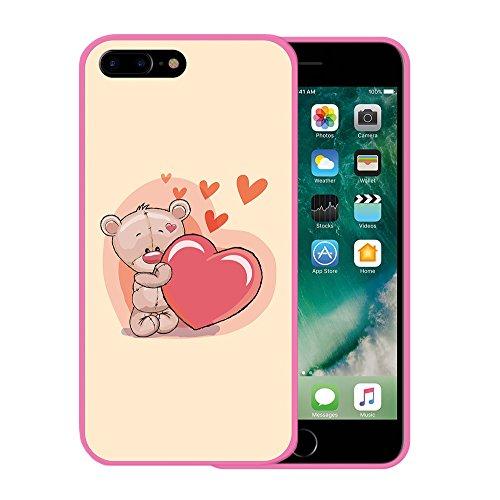 iPhone 7 Plus Hülle, WoowCase Handyhülle Silikon für [ iPhone 7 Plus ] Grau und Rosa Schädel Handytasche Handy Cover Case Schutzhülle Flexible TPU - Schwarz Housse Gel iPhone 7 Plus Rosa D0214