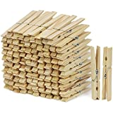 com-four® 100x Wäscheklammern XXL aus Holz, Holzwäscheklammern mit Metallfeder, 10 cm