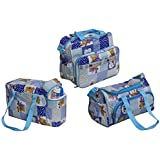 Annapurna Sales Baby Diaper Bag With Bottle Warmers Or Baby Diaper Bag For Mother Or Baby Accessories Bag Or Nappy Changing Bag With 2 Bottle Warmers Combo Set Of 3 Pcs. - Blue (Unisex)
