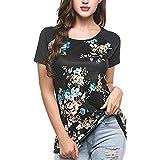 ZEELIY-T Shirt Damen Sommer 2019 Kurzärmeliger O-Neck Bedruckt IrregularTops Plus Size T-Shirt Bluse