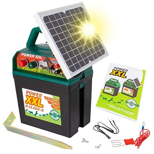 VOSS Power XXL B 12.000-S | Starkes Solar-Weidezaungerät 9V/12V | Megapower zum Kampf-Preis | Hocheffektives Solarmodul | Perfekt für Pferde & Ponyzaun