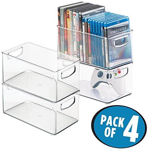 mDesign CD Boxen - vierteiliges Aufbewahrungsset zum Verstauen von CDs, DVDs oder Videospielen - stapelbar - durchsichtig