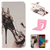 Samsung A5(2016) Leather Phone Case, Ekakashop Magnetized Closure Stand Card Holders Pocket, Retro Leather Wallet Case Purse Protective Cover stand Function Flip Folio Book Case for Samsung Galaxy A5(2016) including a independent Kickstand - High-heeled shoes