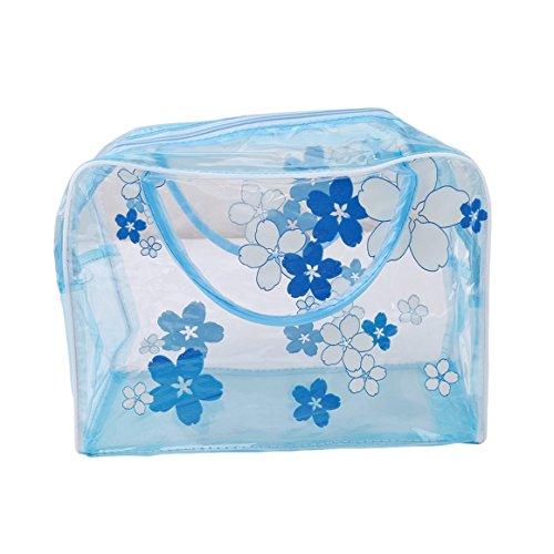 ODN PVC Transparenter Waschtasche für Handgepäck Kosmetiktasche Reiseset, Reise Flaschen (Blau)