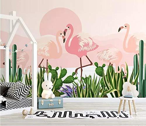 Minyose Wandbilder Tapete Benutzerdefinierte Tapete Wohnzimmer Schlafzimmer 3D Tapete Moderne Handgemalte Tropische Pflanze Flamingo Kaktus Fototapete-200cmx140cm