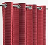 Ösenvorhang gestreift blickdicht, Ösenschal Verdunkelungsgardine 140x245 cm Farbe wählbar (Rot)