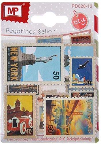 MP PD020-12 - Pegatinas con forma sello de correos