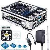 Miuzei Gehäuse für Raspberry Pi 4 mit 35mm Lüfter und 5V 3A USB-C Netztei, 4 × Aluminium Kühlkörper für Raspberry Pi 4 Modell B (RPi Board Nicht enthalten)-Schwarz/Klare