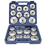 TKOOFN® KFZ Werkzeug Ölfilterkappe Ölfilter Ölfilterschlüssel Set Ölwechselwerkzeug Öldienstschlüssel Ölfilterkartuschen inkl. Koffer (23-tlg) - M05002