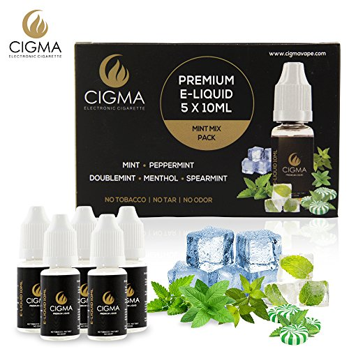 CIGMA 5 X 10ml E Liquid Mint Mix | Mint | Ice Mint | Double Mint | Menthol | Watermelon Mint | New Premium Quality Forumla with Only High Grade Ingredients | VG & PG Mix | Made For Electronic Cigarette and E Shisha
