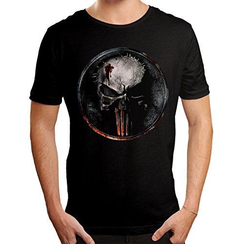 Punisher Herren T-Shirt Blood Logo Daredevil Marvel Baumwolle Schwarz - L