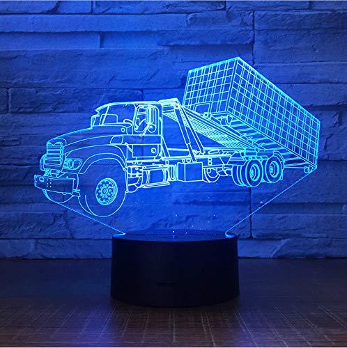 Nachtlicht Für Kinder 3D Illusion Nachtlicht, Touch Button Tisch Schreibtischlampe Mit 7 Farben Licht Für Weihnachten Halloween Geburtstagsgeschenk (Container Trailer Truck) (Halloween 2 Trailer)