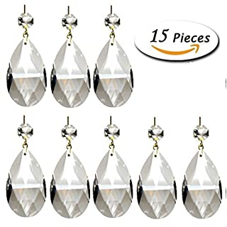 Aiskaer reg; 15 Pieces Clear Teardrop Crystal Chandelier (Gold Pinning,Angel Tears Series)