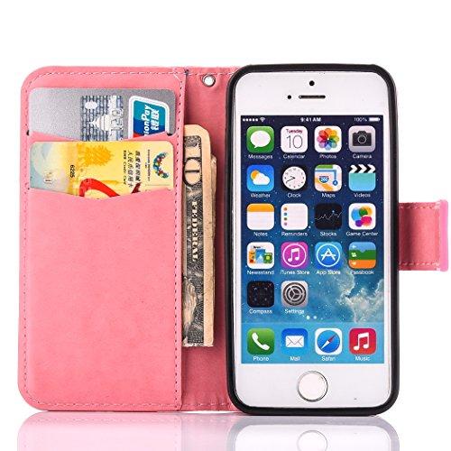 Custodia iPhone SE, ISAKEN iPhone 5S Flip Cover, iPhone 5 Custodia con Strap, Elegante Bookstyle Contrasto Collare PU Pelle Case Cover Protettiva Flip Portafoglio Custodia Protezione Caso con Supporto Rossa