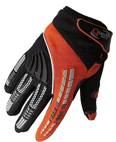 Qtech - Gants protecteurs pour MX/moto-cross/moto Trial - enfant - Orange - XXXS (env. 3-5 ans)