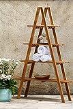LEBENSwohnART Teak Regal Step H170cm Bücherregal Board Leiterregal Deko Badregal Küchenregal