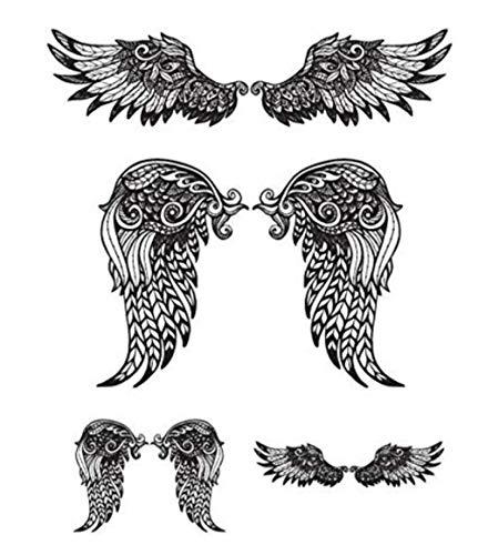 Ali di angelo grande trasferimento temporaneo tatuaggio finto adesivi rimovibili impermeabile donne ragazze indietro petto petto body art festival accessori 15x11 cm 4 p