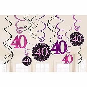 Amscan 9900605decoraciones de remolino de celebración de 40º