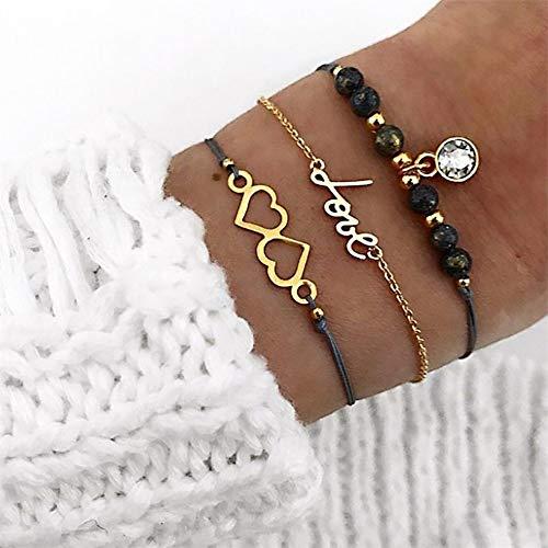 o Herz Liebesbriefe Perlen Edelstein Kette Leder Multilayer Gold Armband Set Weibliche Exquisite ()